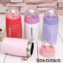 300ml 400ml Cute cartoon hello kitty double 304 stainless steel layer direct drinking Vacuum Flasks for girl