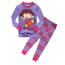 1-8Years Cartoon Spring Autumn Brand Girls Pijamas Dora Kids Pajamas Sets Pyjamas Kids Girls Pyjamas Sleepwear