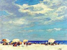 Paintings by Edward Henry Potthast Beach Scene II Hand painted art on canvas High quality(China)
