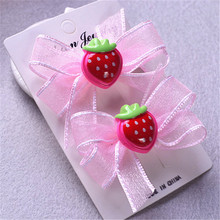 AKWZMLY 1Pair Cute Hair Clip Lace Bow Children Pink Hair Accessories Girls Dots Strawberry Duck Hairpin Princess Hair Jewelry(China)
