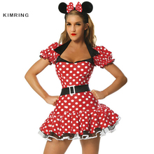 Kimring sexy minnie mouse de disfraces de halloween traje de cosplay fantasy costume dress naughty adultos traje de cuento de hadas para las mujeres