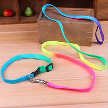1 Set Rainbow Color Pet Small Nylon Dog Puppy Collar Leash Soft Walking Harness Lead Perro Mascota Aprovechar