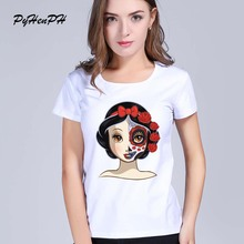 2017 New Women's Snow White Princess cartoon design sugar skull Printed T shirt summer short sleeve tops tees women tshirt(China)
