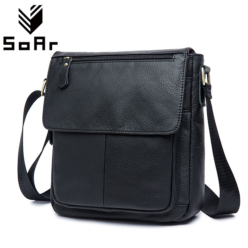 SoAr Men Bag Shoulder Crossbody Messenger Bags Business Style Male Travel Bags Real Genuine Leather Bags Famous Brands Casual<br>