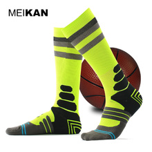 MEIKAN Men's Basketball Socks Professional Coolmax Compression Cycling Socks Brand Breathable Sports Pattern Running Socks(China)