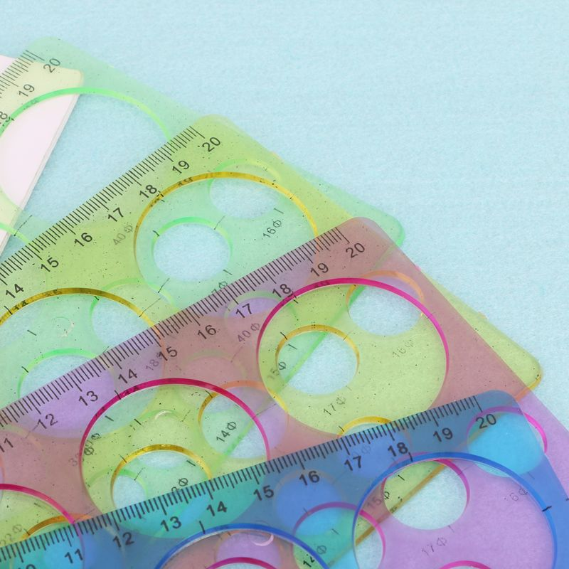 1PC Plastic Circles Geometric Template Ruler Stencil Drawing Tool Stationery For Student
