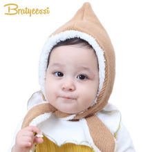 Bratyeessi Plush Lining Baby Hats Newborn Cute Winter Baby Bonnet Hat Cotton Infant Peaked Cap Camel/Gray(China)