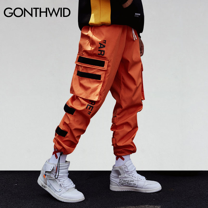 GONTHWID Men's Side Pockets Cargo Harem Pants 2020 Hip Hop Casual Male Tatical Joggers Trousers Fashion Casual Streetwear Pants