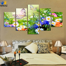 5 panels art HD colorful blooming Flower butterfly painting on canvas  picture living room home Decor Painting Unframed A66