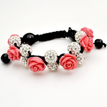 Love Rose Flower with Fashion Shamballa Jewelry New Sale Promotion 10mm Crystal White Disco Ball Shamballa Bracelets Adjustable