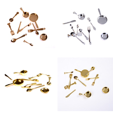 11 pcs Gold/Silver/Bronze Kitchen dining&bar Fancy ware Doll house Miniature Stainless Steel 1/12 Scale Dollhouse Tableware Hot