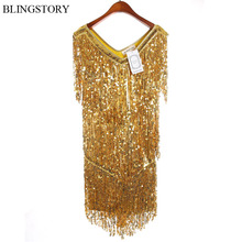 BLINGSTORY Europe Brand Bling Sequined Latin Dance Costumes Summer Festival Club woman dress party elegant KR4007(China)