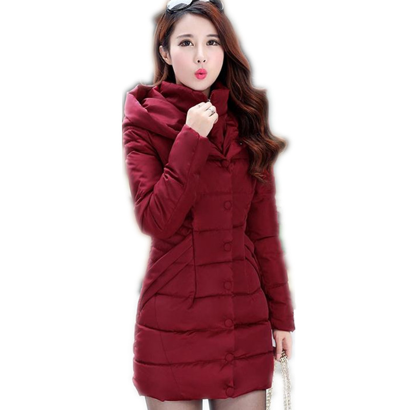 2017 Fashion Winter Women Down Cotton Jacket Parka Female Hooded Thicken Medium-Long Size M-3XL Cotton Outerwear Warm Coat CQ418Îäåæäà è àêñåññóàðû<br><br>