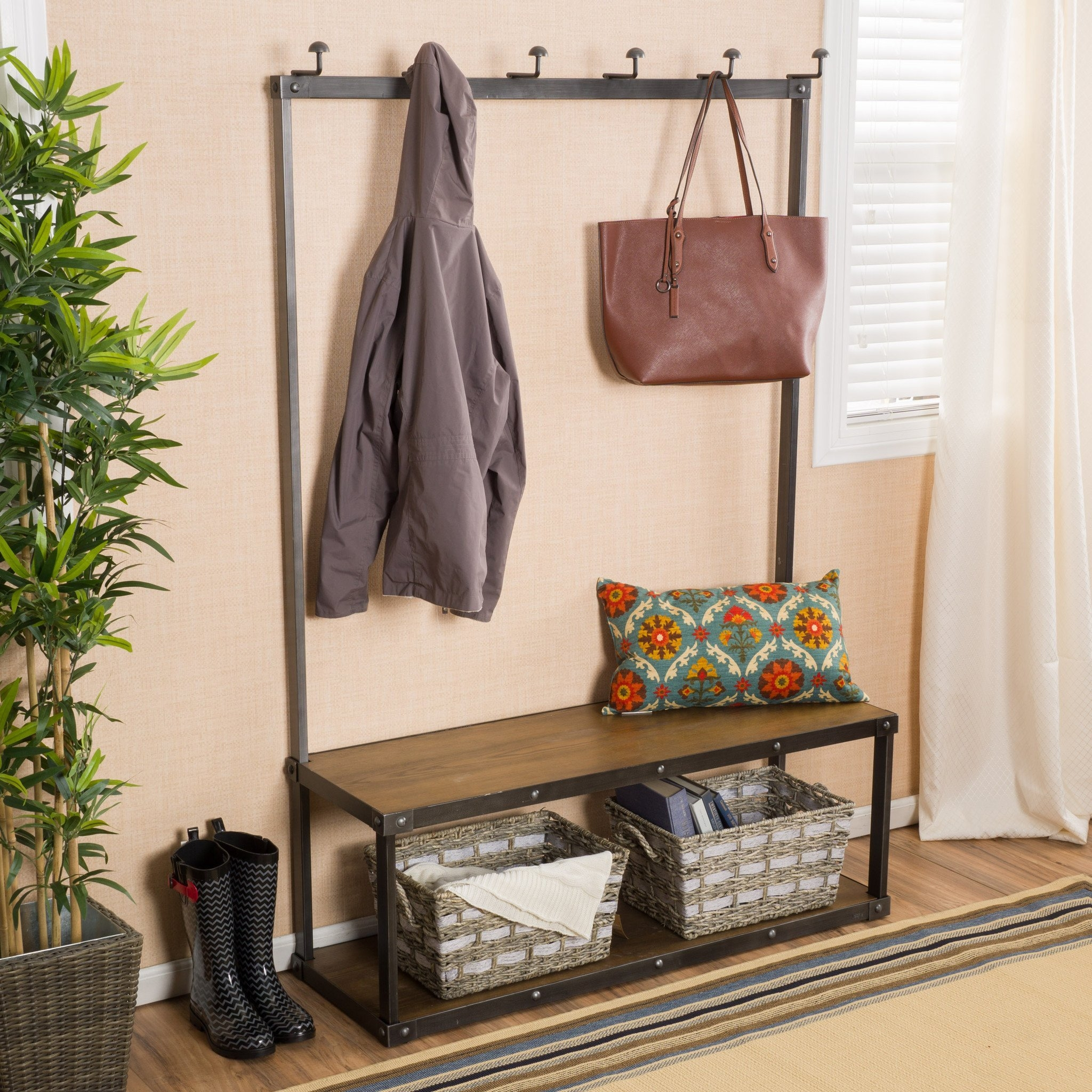 Elaine Brown Entry Bench with Coat Rack