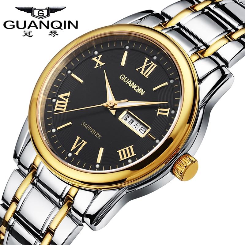 Luxury Men Watch Brand GUANQIN Quartz Watch Waterproof Luminous Watches Clock Mens Steel Wristwatches Relogio Masculino Reloj<br>