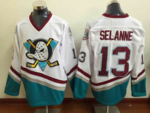 Mighty Ducks Movie #13 Selanne White/Black/Green/Purple/Red Ice Hockey Jerseys Mens Cheap Wholesale Shirts Camisa