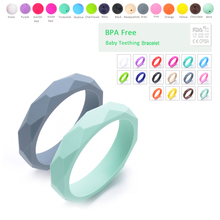Fashion Women Wristband 2pcs/lot silicone teething bracelet Baby Teether For Baby BPA Free Wholesale Baby Chewable Silicone Bead(China)