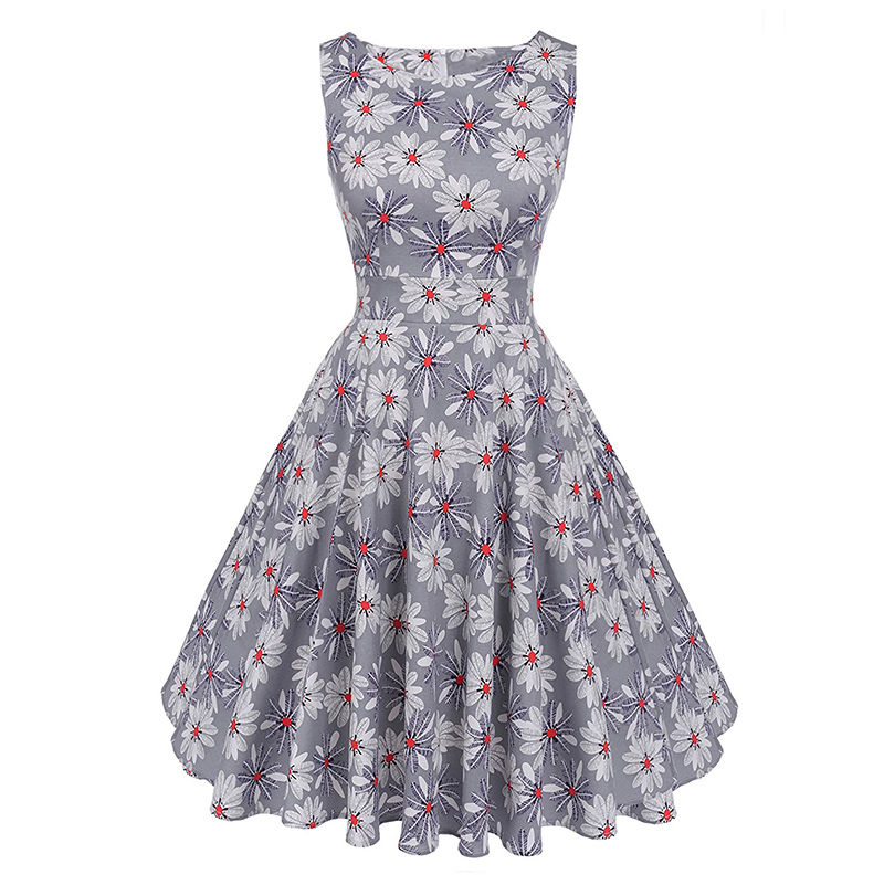 Kostlish Cotton Summer Dress Women 2017 Sleeveless Tunic 50s Vintage Dress Belt Elegant Print Rockabilly Party Dresses Sundress (61)