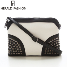 Herald Fashion Rivet Messenger Bag Shell Chain Strap Shoulder Women Bag Vintage Scrub Crossbody Bag Clutch Autumn and Winter Bag