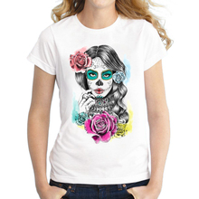 2016 New Arrivals Women Aaliyah Day of the Dead T-Shirt Short Sleeve Flower Skull Printed T Shirt Novelty Cool Tee Shirts Tops