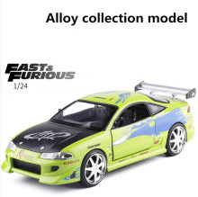 JADA 1:24 Advanced alloy car model,high imitation fast&furious Mitsubishi Eclipse Racing toy,collection car model, free shipping