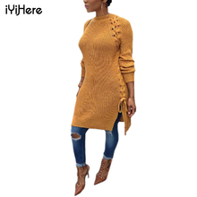 Buy Long Sweater Dress Long Sleeve Round Neck Autumn Winter Warm Women Pullovers Sweater Hole Sexy Side Split Lace Women Sweaters for $18.74 in AliExpress store