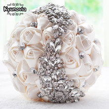 Kyunovia crystal Wedding Bouquet Red Brooch bouquet wedding accessories Bridesmaid artifical Wedding flowers Bridal Bouquets FE8(China)
