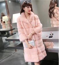 Fur coat new long-paragraph models of Korean women's winter fur coat thickening warm Rex Rabbit Fur artificial fur coat PC038