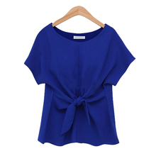 Summer Style Short Sleeve Bow Women Casual Blouse M-5XL Plus Size Solid Loose Ladies Shirt Tops 2015 HOT Office Blouses Blusas