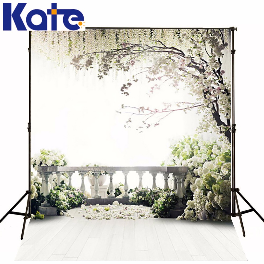200*300Cm Backgrounds For Photo Studio Photography Backdrops White Green The Open-Air Terrace Flowers Tree For Wedding<br>