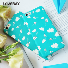 Lovebay Fashion Phone Case For iPhone 6 6s Plus 7 7 Plus Lovely Cartoon Airplane Blue Sky White Clouds Hard PC Phone Case Cover