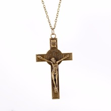 New Hot Trendy Male Titanium Steel Cross Pendant Chain Necklace for Men Gold -Color Jewelry 077(China)