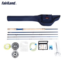 Portable Fly Fishing combo 6/7, 7/8, 8/9 5 sections fly rod, Large Arbor fly reel Lures Set blue case fly set rod bag(China)