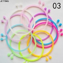 10pcs/lot Fashion High Elastic Hair Rope Ties Fluorescence Silicone Rubber Band Bracelet headband Girl Hair Accessory