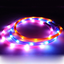 USB Rechargeable LED Flashing Light Band Glow Safety Belt Pet Dog Puppy Collar
