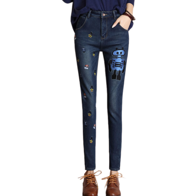 Fashion Cartoon Embroidery Pencil Jeans Female Plus Velvet Warm Denim Trousers Stretch Slim Pencil Pants For Women Skinny JeansОдежда и ак�е��уары<br><br><br>Aliexpress