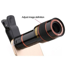 Phone Clip 12X Zoom Phone Telescope Lens External Smartphone Camera Lens for Universal Phones
