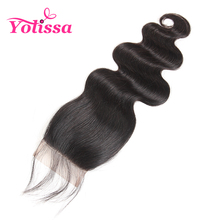 Yolissa Brazilian Body Wave Lace Closure Free Part 4''x 4'' Closure Natural Color 100% Human Hair Free Ship non-Remy Hair