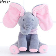 Nooer Peek A Boo Music Elephant Stuffed Plush Toy Electric Hide And Seek Elephant Animal Doll Kids Baby Toy Birthday Gift(China)