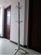 Free Shipping 175cm Floor Solid Wood Coat Rack White(China)