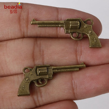 Top Quality 3pcs/bag 16*36mm Antique Bronze Plated Zinc Alloy Metal Charms Pistol Pendants For Jewelry Making Findings(China)