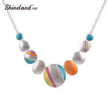 New Design 2017 Bijoux Fashion Ethnic Necklace For Women Silver Plated Clolrful Round Chokers Statement Necklace Vintage Jewelry(China)
