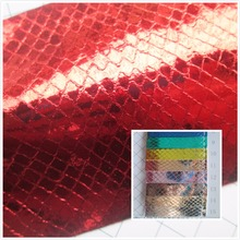 Flash ish scales style Mirror glitter 0.7 mm PVC synthetic leather fabric 15 Smooth surface for decorative bag couro cloth(China)
