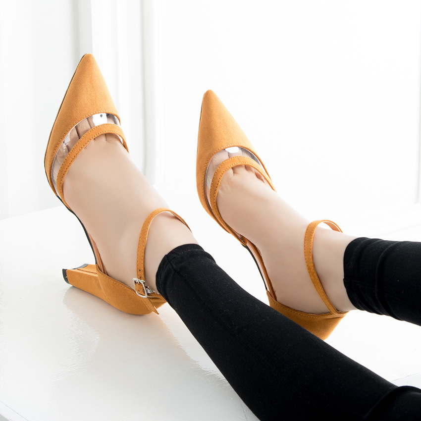 Pumps Women Transparent PVC  Stitching 2017 Summer Sandals Female Students Thick Heels Pointed Toe  Hollow Shallow Mouth Shoes<br><br>Aliexpress