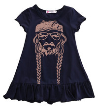Baby Girl Dress Kids Princess Party Summer Short Sleeve Cotton Child Girls Print Dress Willie Nelson(China)