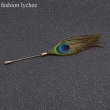 fashion lychee Peacock Feather Brooch Clothes Sweater Accessories Hat Scarf Stick Pin for Women Jewelry Gift(China)