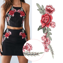2PCs Embroidery Red Rose Flower Sew On Patch Dress Hat Bag Jeans Applique Crafts Fabric Sticker Decoration