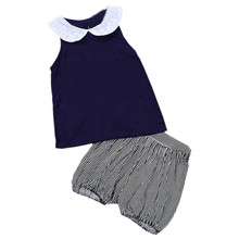 Hot New 2017 Summer Casual Fashion Toddler Kids Baby Girl T-shirt Vest Tops Striped Shorts Pants Clothes Set Outfit Blue 5T 2T
