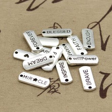 15pcs Charms love forever hope faith inspire brave dream believe family 21*8mm Tibetan Silver Pendant Findings DIY Accessories