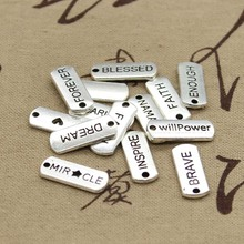 15pcs Charms love forever hope faith inspire brave dream believe family 21*8mm Tibetan Silver Pendant Findings DIY Accessories(China)
